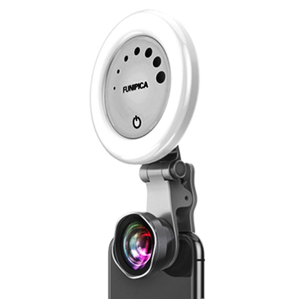 【LIEQI】F-508P 無變形美肌補光燈花瓣廣角鏡頭冷暖光 曜石黑