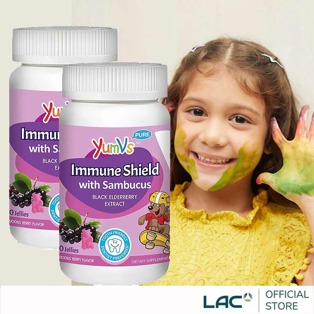 【LAC利維喜】【2入組】YUM-V'S 快樂熊接骨木軟糖60顆-覆盆莓口味