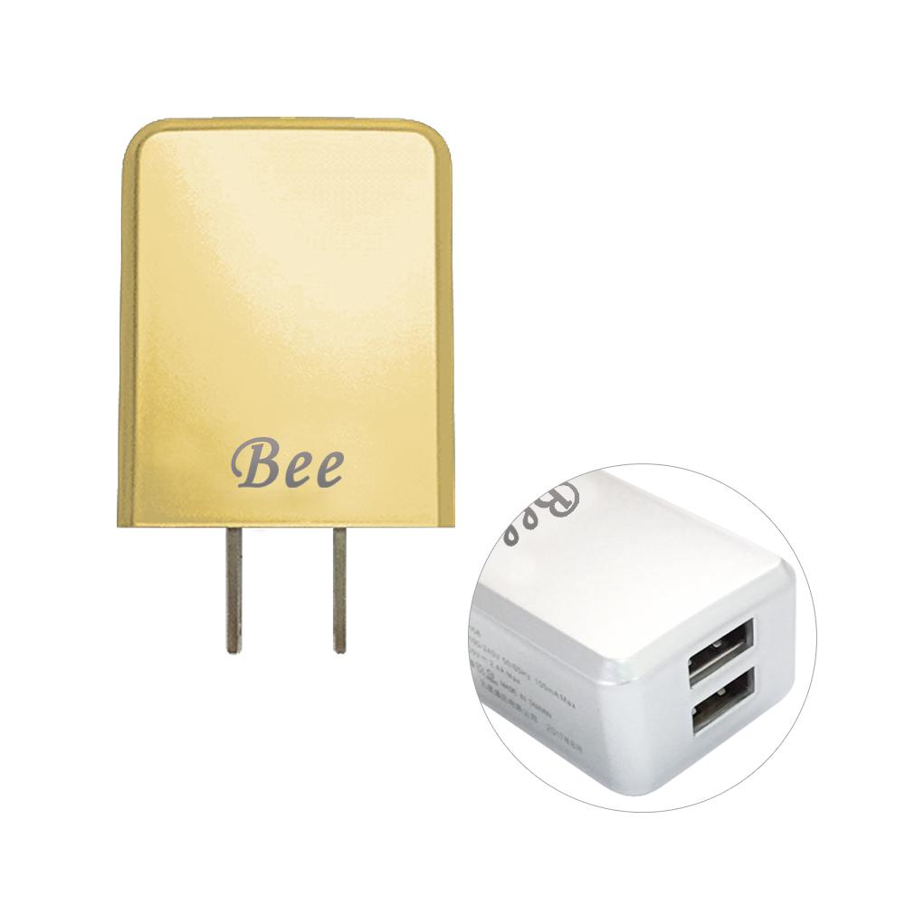 【台灣製造】Bee 2.4A 雙埠USB充電器-香檳金