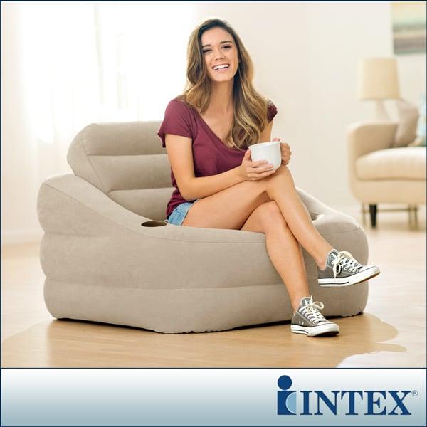 【INTEX】歐式充氣沙發(可拆式靠背)-褐灰色(68587)