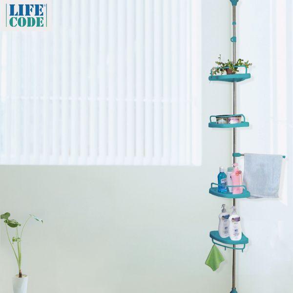 【LIFECODE】頂天立地浴室置物架(不鏽鋼複合管)+4置物盤+1毛巾桿 -蒂芬妮藍 【贈送-廚房防污貼紙】