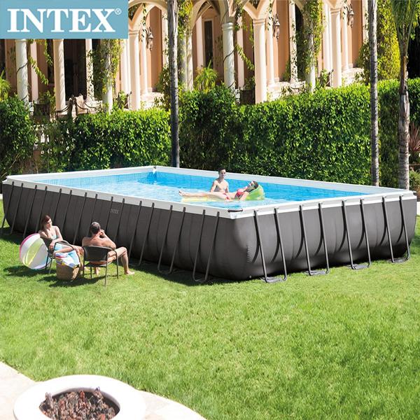 【INTEX】長方型框架速搭大型游泳池(附砂濾水泵)975x488x132cm (54368L)適用6歲+(26371)
