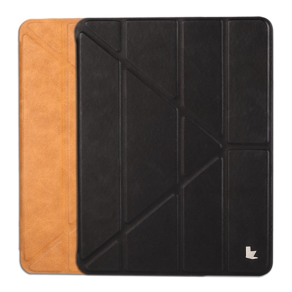 JISONCASE Apple iPad(2017/2018) Y折筆槽側翻皮套(棕色)