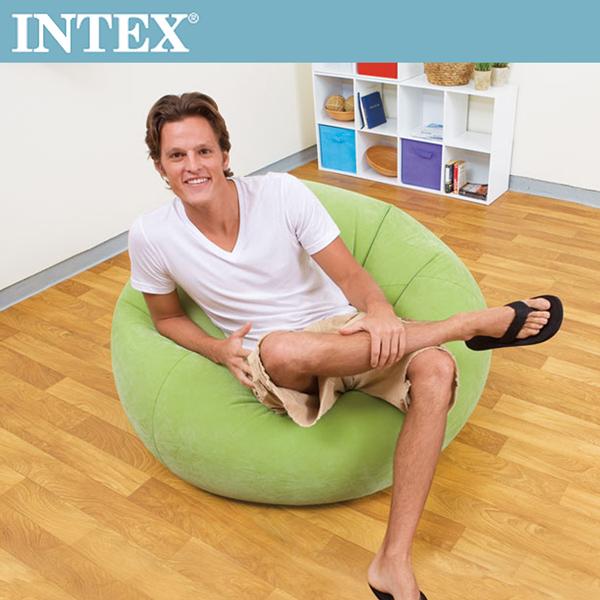 【INTEX】豆豆休閒充氣椅/懶骨頭椅-綠色(68569)