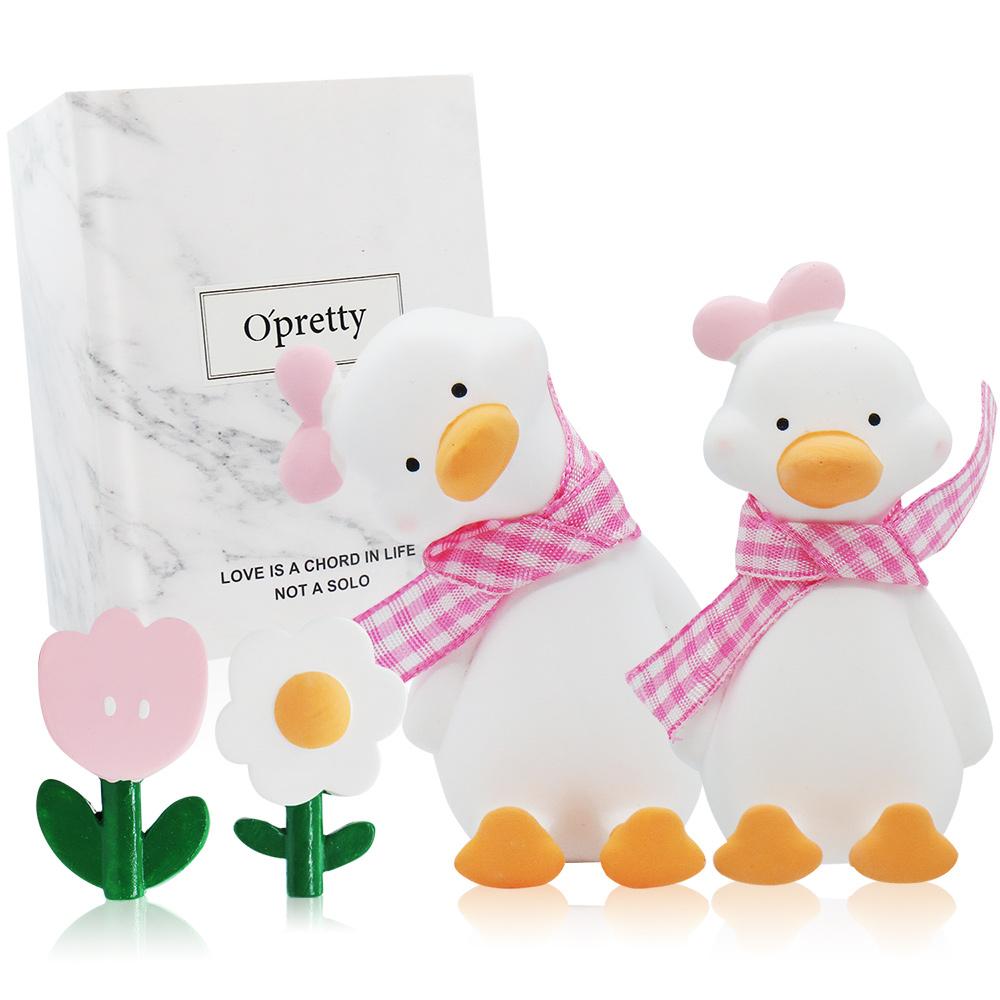 O'Pretty 歐沛媞 車用香氛擴香石擺飾-元氣加油鴨禮盒(粉色)