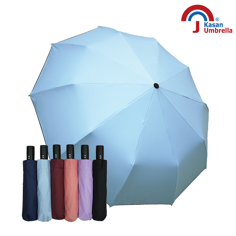 【Kasan晴雨傘】防風抗UV十骨自動開收傘-水藍