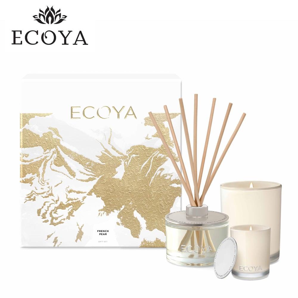 澳洲ECOYA 頂級香氛禮盒-法式梨香(迷你水晶蠟燭50g+室內薰香瓶200ml+高雅香氛蠟燭400g)