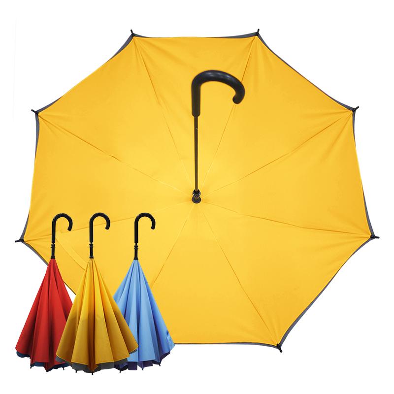 【Kasan晴雨傘】雙層傘面上收式防風反向雨傘-黃灰