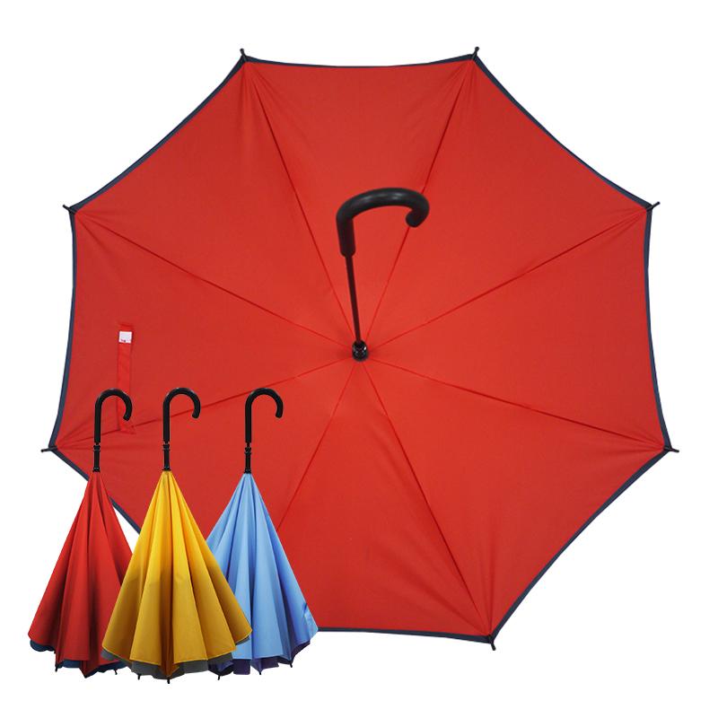 【Kasan晴雨傘】雙層傘面上收式防風反向雨傘-紅藍