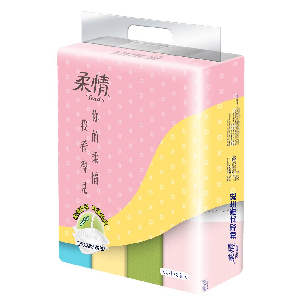 【柔情】個性化抽取式衛生紙100抽x8包x7串/箱