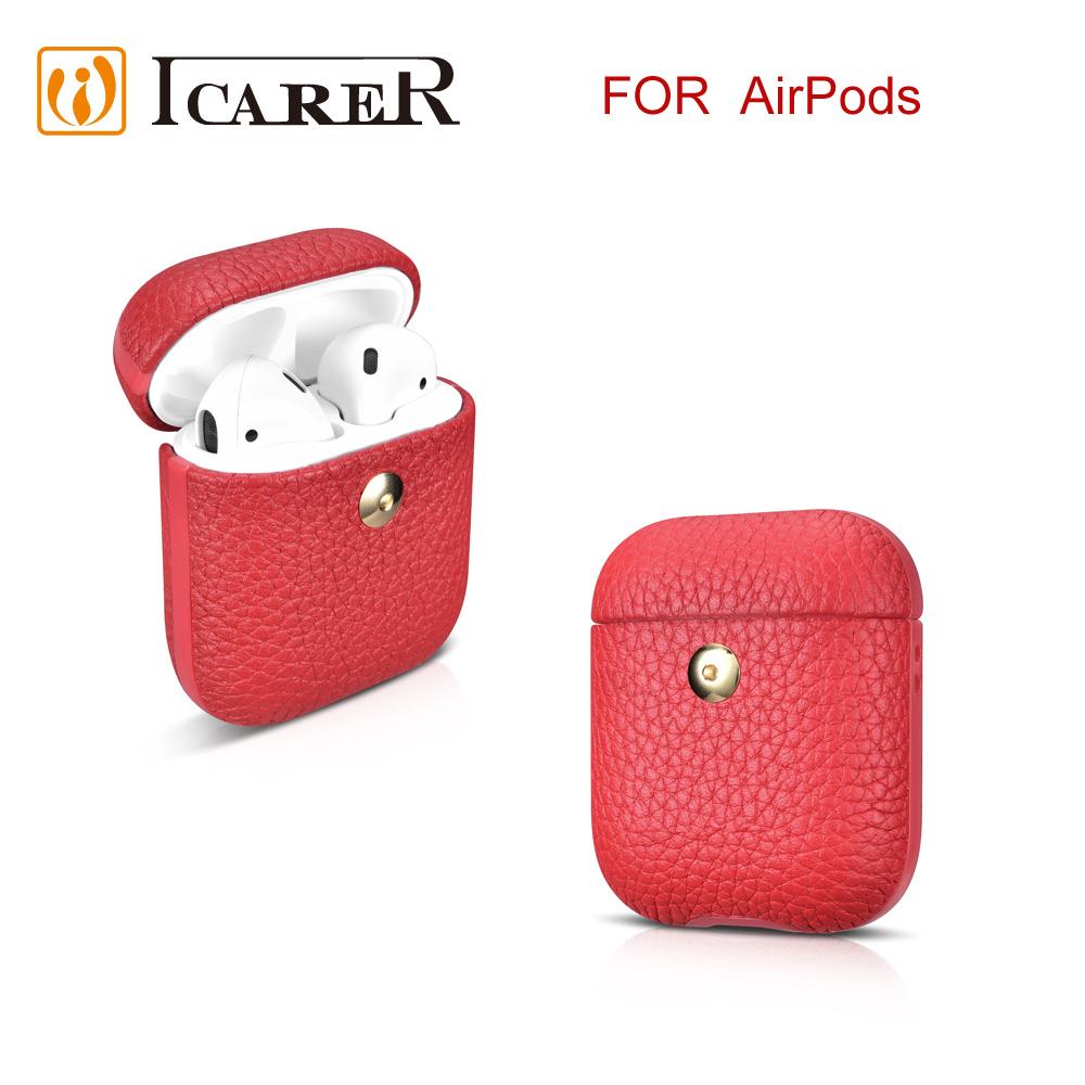 ICARER 荔枝紋系列 AirPods 手工真皮保護套-紅
