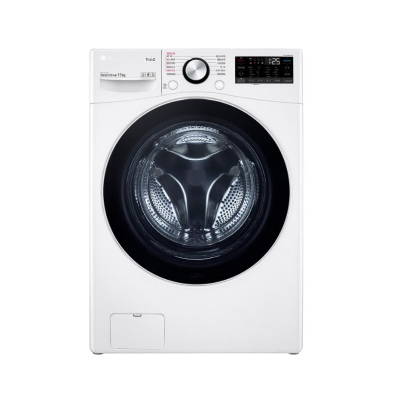 LG樂金 WD-S15TBW WiFi滾筒洗衣機(蒸洗脫) 冰磁白 / 15公斤 贈雙人牌單柄鍋、28cm炒鍋+玻蓋(含基本安裝、運送)