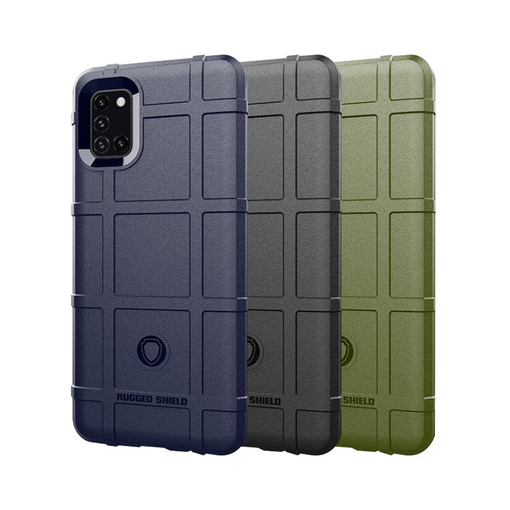 QinD SAMSUNG Galaxy A31 戰術護盾保護套(藍色)