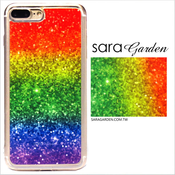 【Sara Garden】客製化 軟殼 蘋果 iPhone7 iphone8 i7 i8 4.7吋 手機殼 保護套 全包邊 掛繩孔 彩虹閃粉