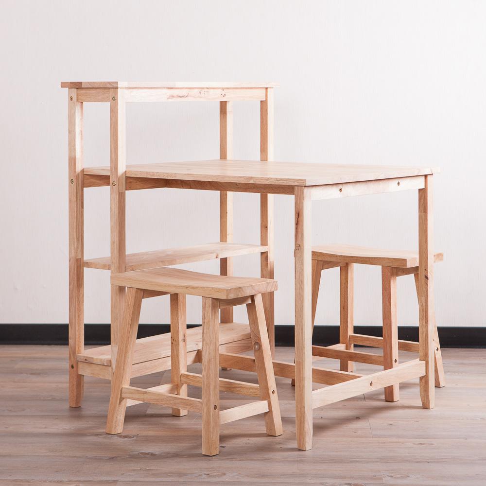 自然簡約生活餐桌層架椅凳組-生活工場