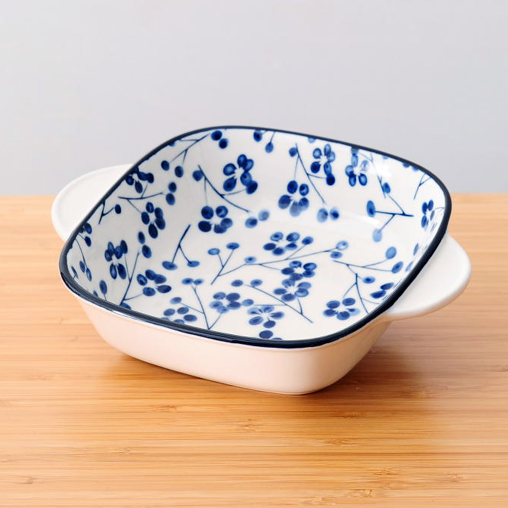 藍繪梅枝方形烤盤17cm-生活工場