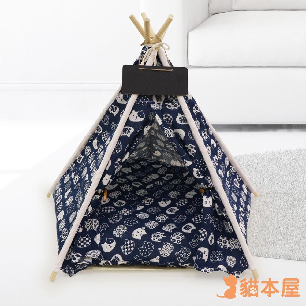 貓本屋 狗窩/貓窩 可拆洗四季通用 五角型亞麻寵物帳篷-貓咪藍