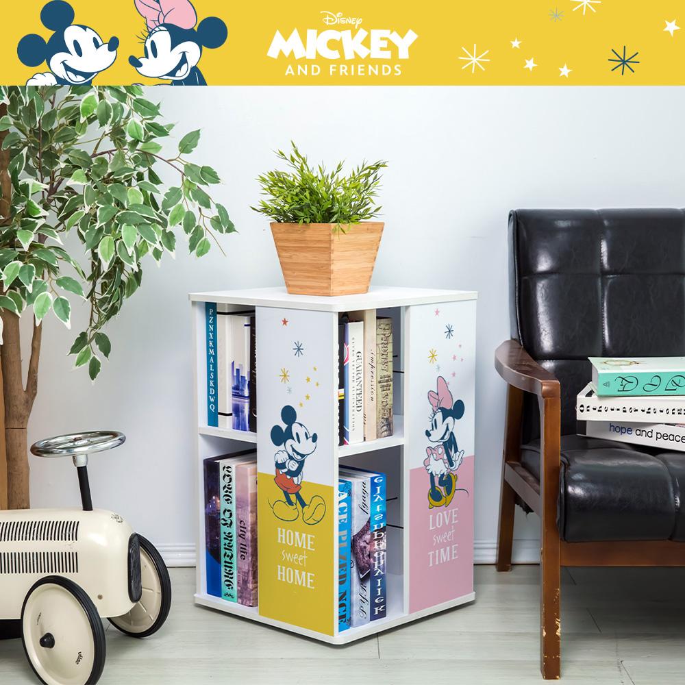 【收納王妃】迪士尼授權 米奇米妮 直立式旋轉書櫃 置物櫃 收納櫃 雙層櫃 床邊櫃