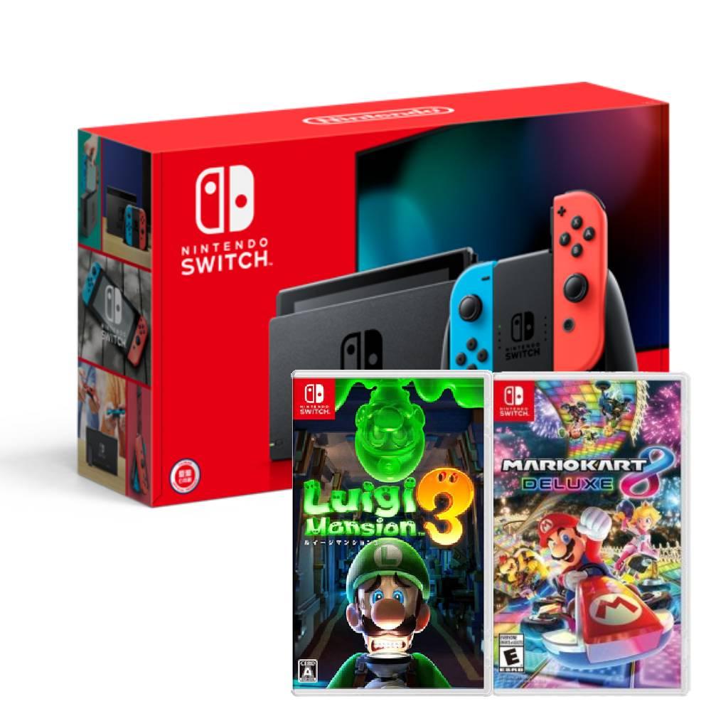 【預購】Nintendo Switch主機電光紅藍(電池加強版)+瑪利歐賽車8豪華版中文版+路易吉洋樓3中文版