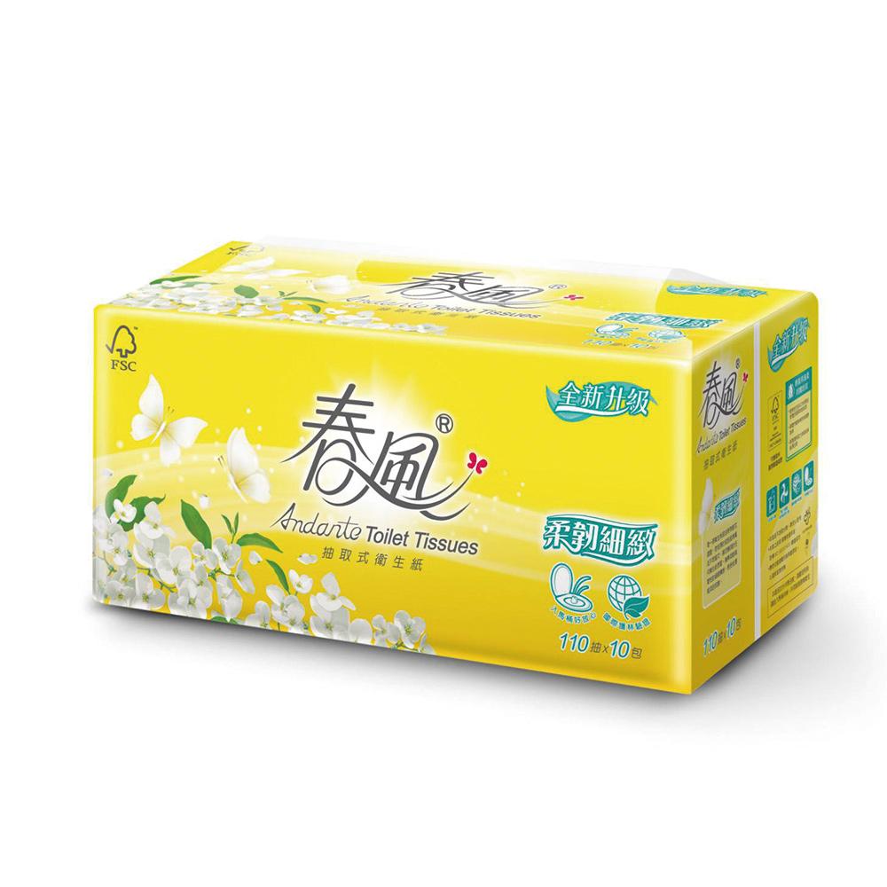 春風 柔韌細緻抽取式衛生紙110抽*10包*6串/箱