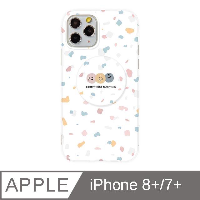 iPhone 7/8 Plus 5.5吋 Smilie笑臉水磨石氣囊支架iPhone手機殼 碎花三胞胎