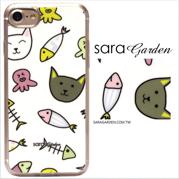 【Sara Garden】客製化 軟殼 蘋果 iPhone7 iphone8 i7 i8 4.7吋 手機殼 保護套 全包邊 掛繩孔 手繪貓咪魚