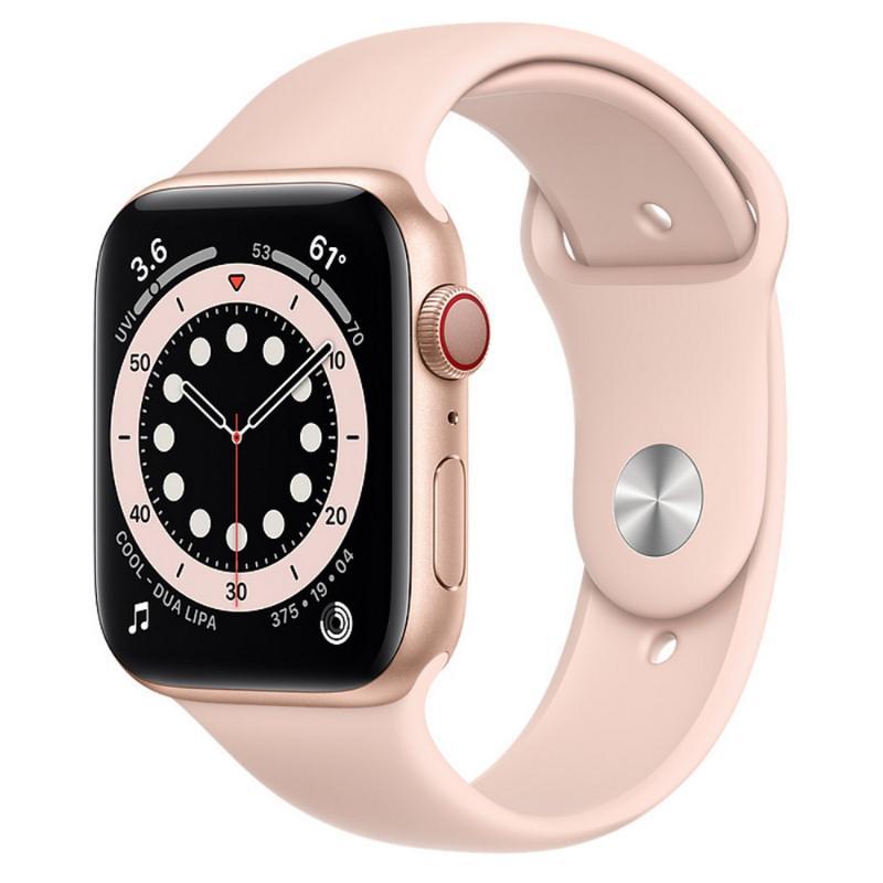 Apple Watch S6 LTE 44mm 金色鋁金屬-粉沙色運動型錶帶【新品上市 現貨賣場】