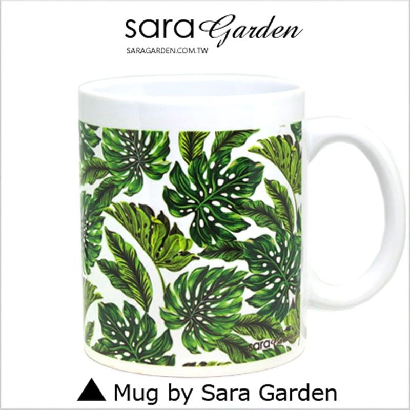 【Sara Garden】客製 手作 彩繪 馬克杯 Mug 熱帶 樹葉 叢林 咖啡杯 陶瓷杯 杯子 杯具 牛奶杯 茶杯