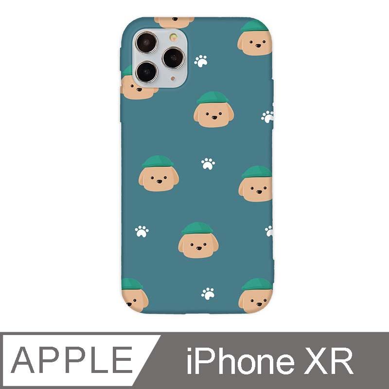 iPhone XR 6.1吋 文藝貴賓狗iPhone手機殼 巧克力貴賓碎花款 青綠色
