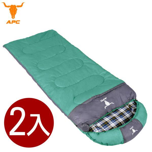 APC《純棉格子》秋冬加寬可拼接全開式睡袋-綠色(2入組)