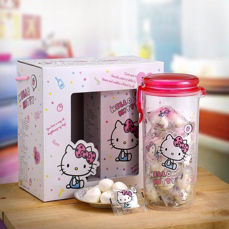 Hello Kitty棉花糖禮盒-甜蜜罐(100g草莓棉花糖+100g補充包)