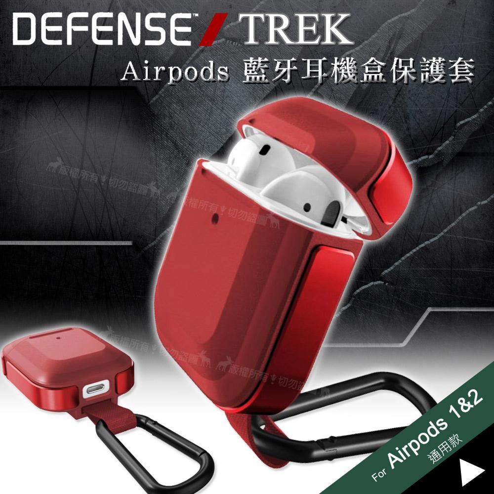 刀鋒TREK Apple Airpods 鋁合金雙料藍牙耳機盒保護套 1/2代通用款(暗夜鋼鐵紅)