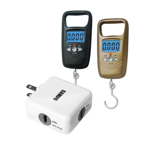 【SAMPO聲寶】聲寶 雙USB充電器(DQ-U1202UL)+【SA+】行李秤/吊掛秤(WH-A17L)(黑色)