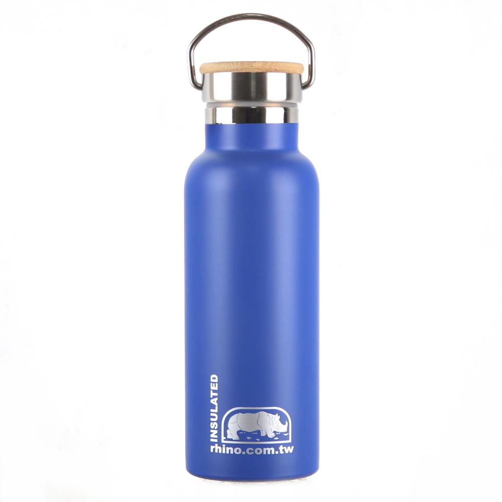 犀牛RHINO Vacuum Bottle雙層不銹鋼保溫水壺(竹片蓋)500ml-莓藍