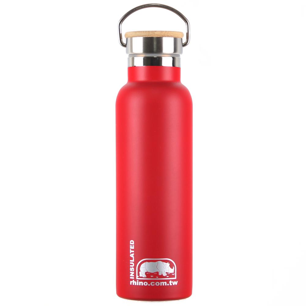 犀牛RHINO Vacuum Bottle雙層不銹鋼保溫水壺(竹片蓋)600ml-洋紅