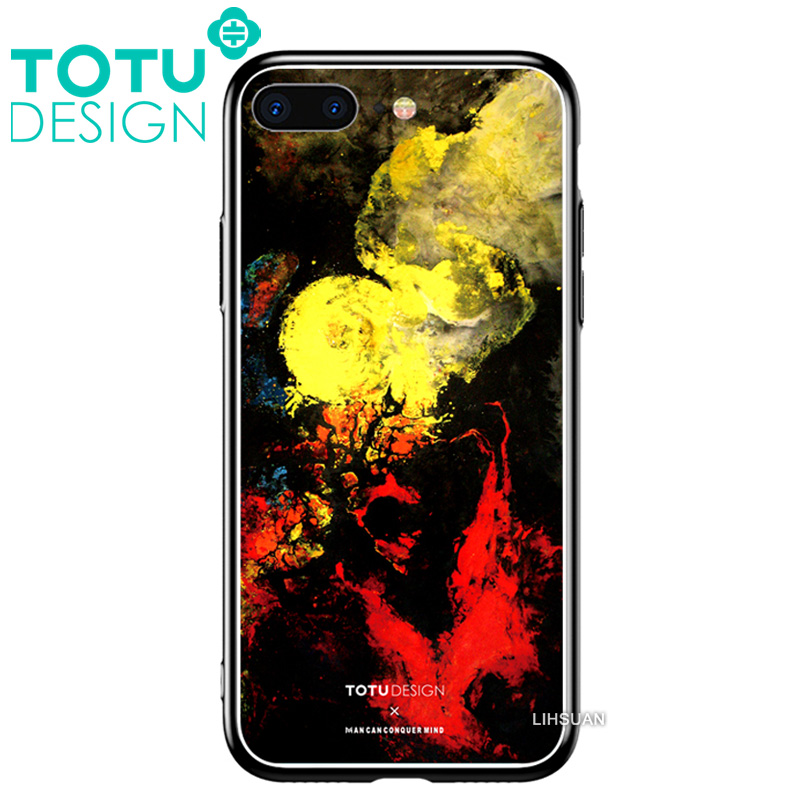 【TOTU台灣官方】鋼化 玻璃 背板 iPhone7 iphone8 i7 i8 4.7吋 手機殼 防摔殼 四角 全包 軟邊 掛繩孔 塗鴉