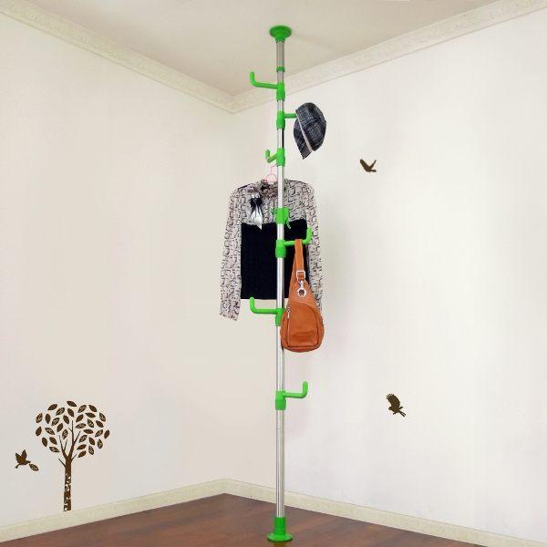 【LIFECODE】春樹頂天立地多用途衣帽架/包包架(果綠色)