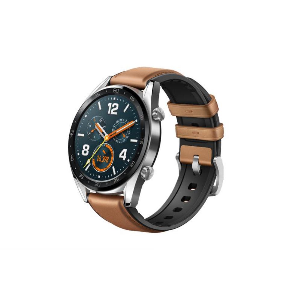 藍芽手錶 Huawei Watch GT鋼色(馬鞍棕皮膠錶帶)