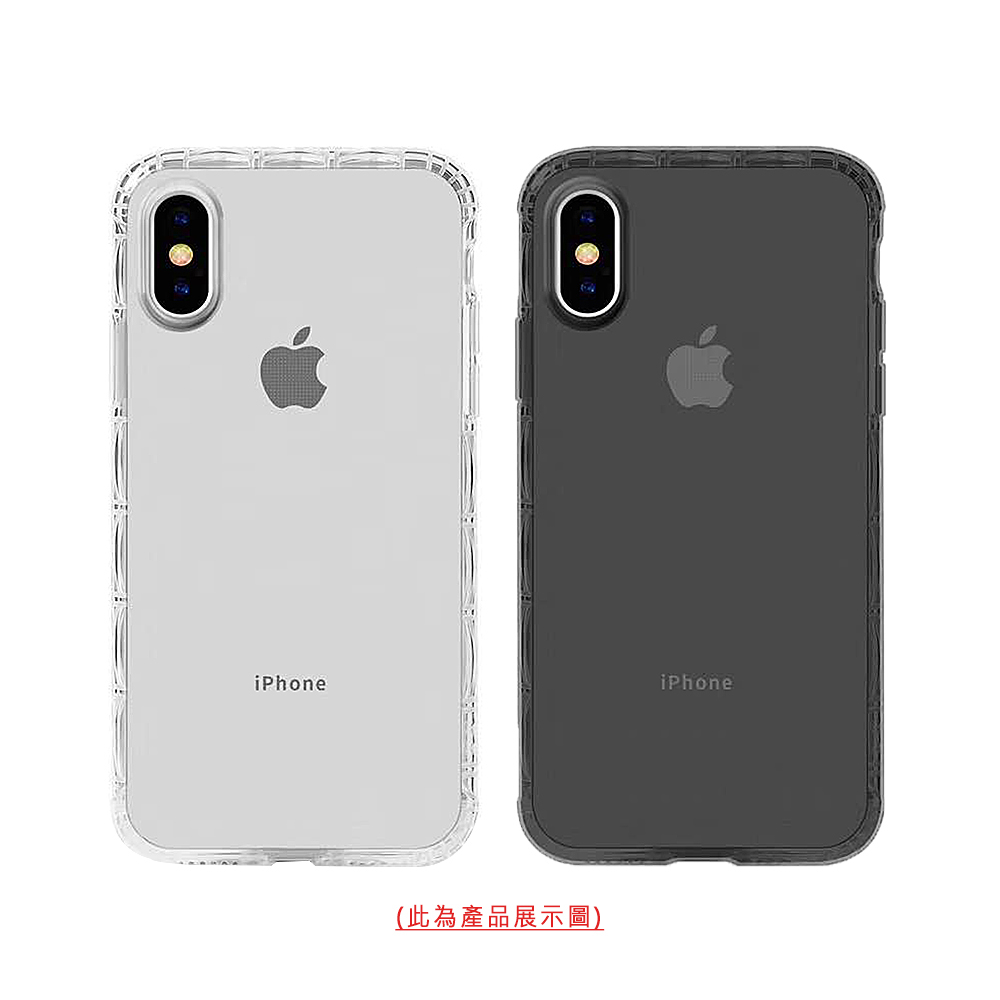QinD Apple iPhone Xs Max 軍規防摔殼殼(透黑)