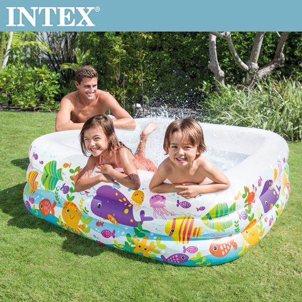 【INTEX】海底動物方型戲水游泳池159x159x50cm (340L)3歲+(57471N)