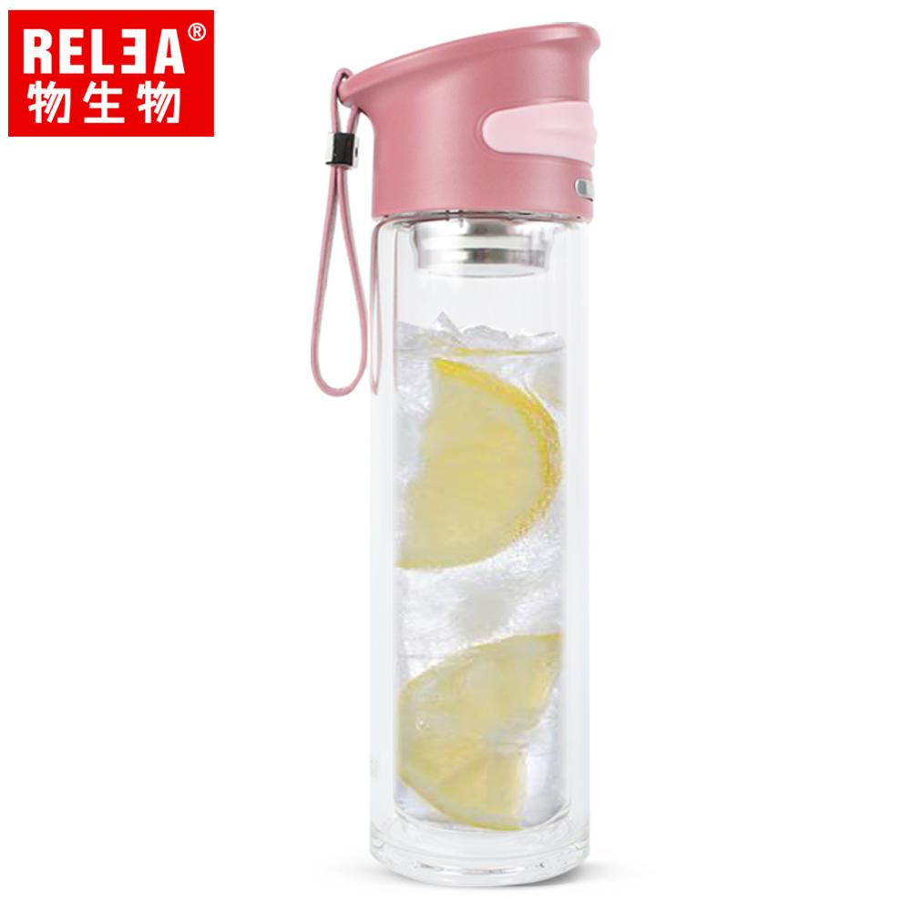 【香港RELEA物生物】350ml學士雙層玻璃杯(求知紅)