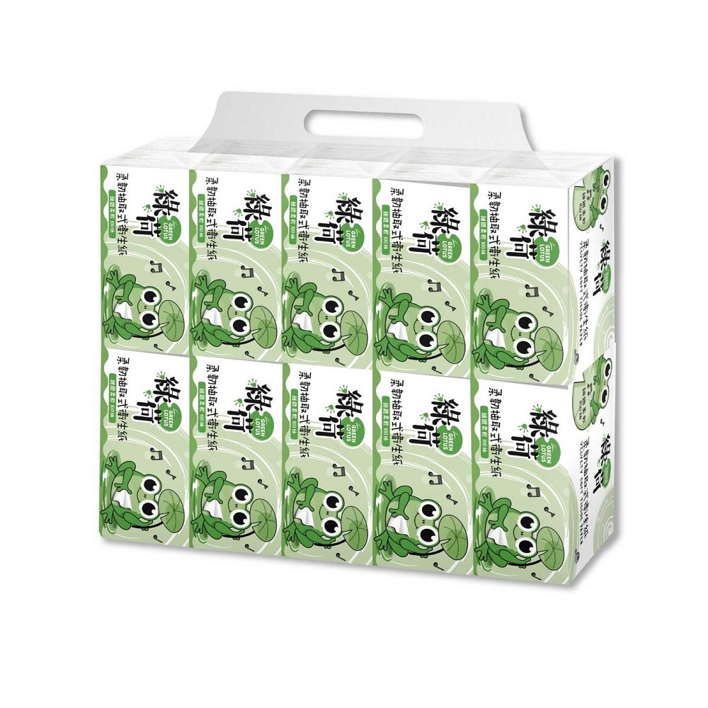 綠荷柔韌抽取式花紋衛生紙100抽100包/箱