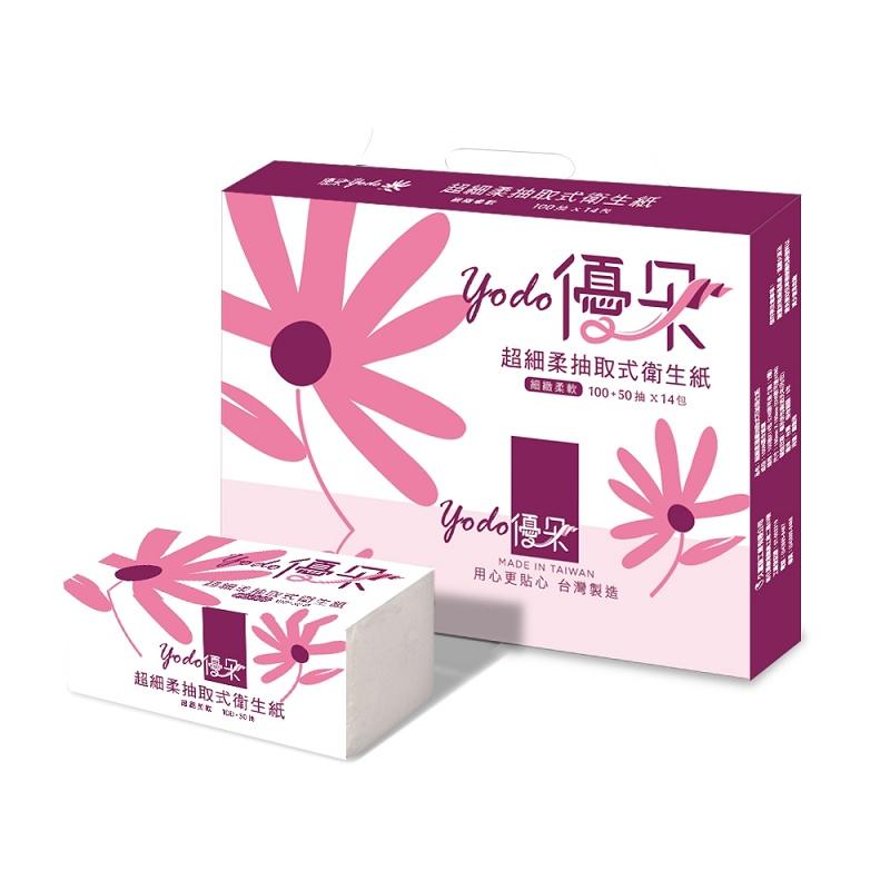 Yodo優朵超細柔抽取式花紋衛生紙150抽X84包/箱