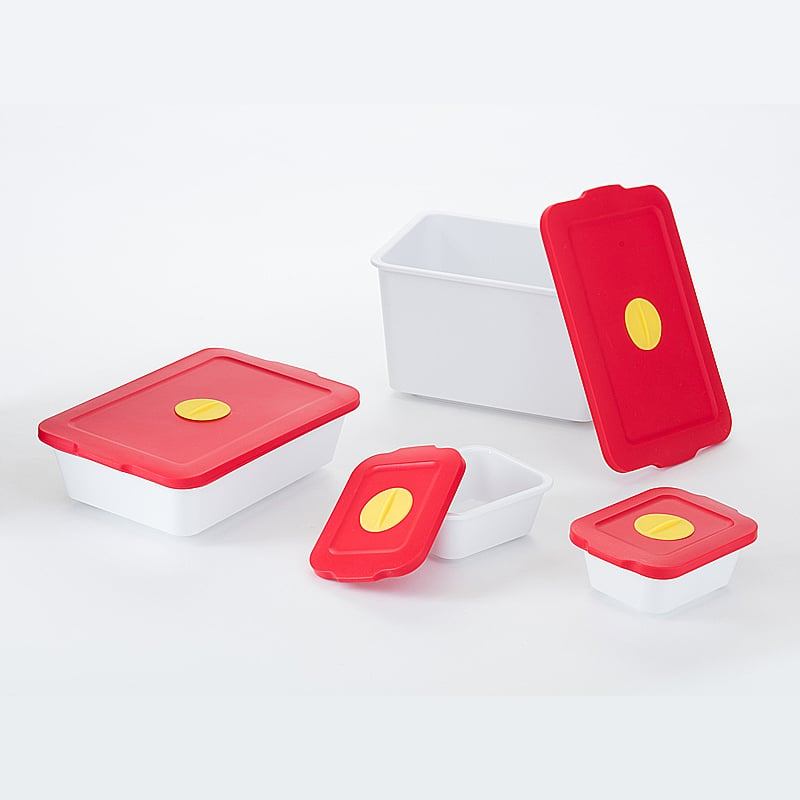【買一組送一組隨機顏色】-【台灣 S.E.E.】 玉米澱粉保鮮盒-紅蓋白身 四件組