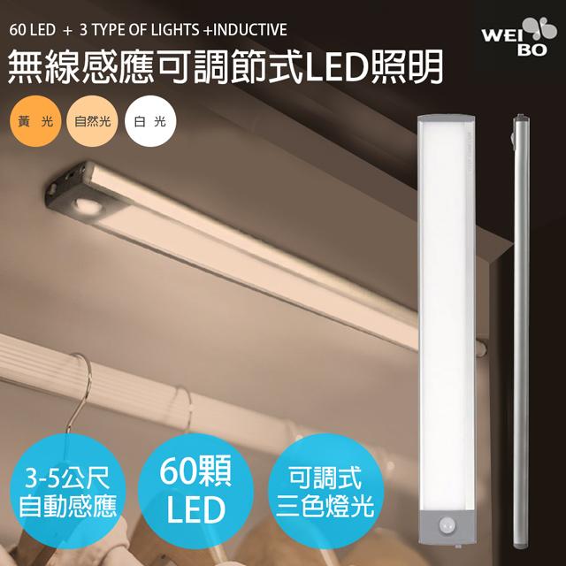 WEI BO原廠 白黃光可調顏色與亮度款 磁吸式無線平板自動感應燈60顆LED燈(32.3公分)內置鋰電池免牽線