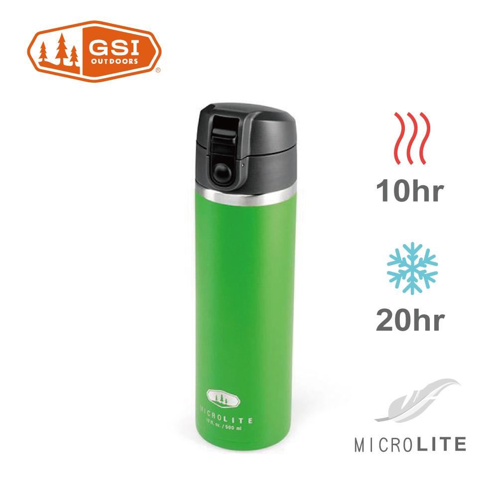 【美國GSI】輕量單手彈蓋不鏽鋼保溫瓶-0.5L蘋果綠