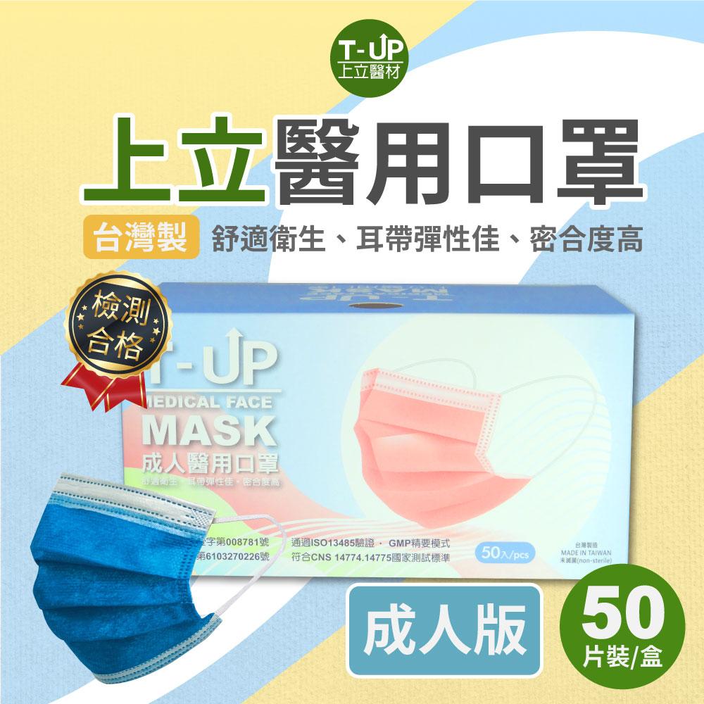 上立醫用口罩-成人經典款50入x2盒(海軍藍)