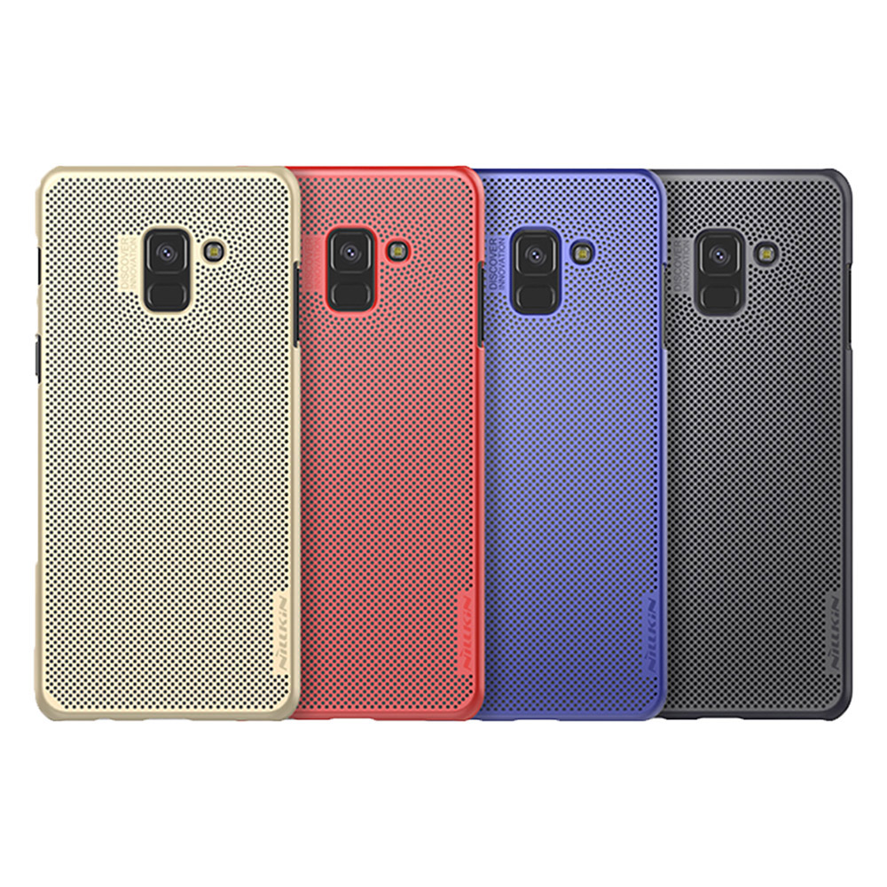NILLKIN SAMSUNG Galaxy A8+(2018) 立透散熱手機殼(藍色)