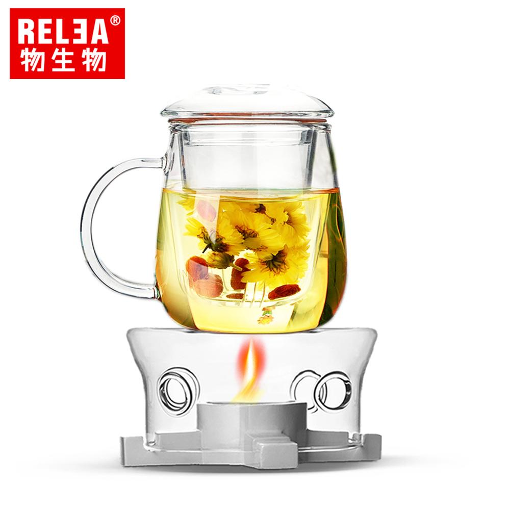 【香港RELEA物生物】超值泡茶組(320ml小蘑菇耐熱玻璃泡茶杯(附濾茶器)+玻璃耐熱茶爐)