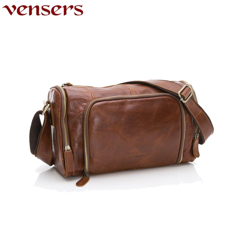 【vensers】小牛皮潮流個性包~斜肩背包(NE34901黃油皮)